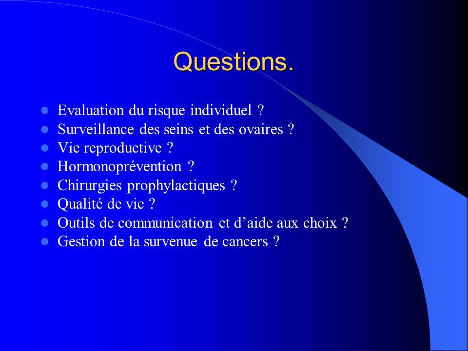 Questions. Evaluation du risque individuel ? Surveillance des seins et des ovaires ? Vie reproductive ? Hormonoprévention ? Chirurgies prophylactiques
