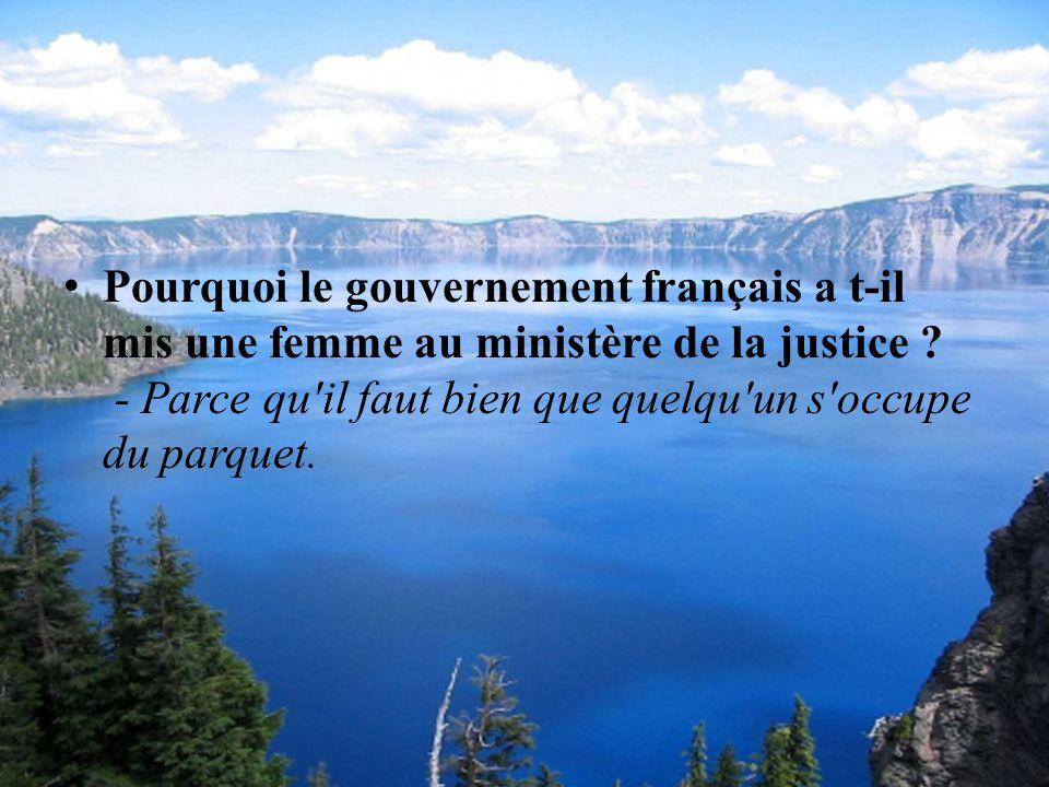P ourquoi le gouvernement français a t-il mis une femme au ministère de la justice .