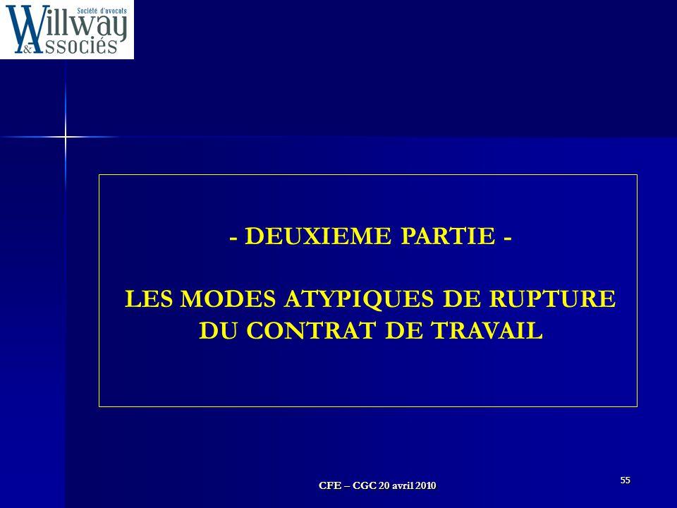 CFE – CGC 20 avril 2010 55 - DEUXIEME PARTIE - LES MODES ATYPIQUES DE RUPTURE DU CONTRAT DE TRAVAIL