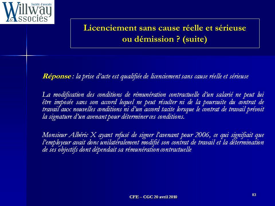 CFE – CGC 20 avril 2010 83 Réponse : la prise d'acte est qualifiée de licenciement sans cause réelle et sérieuse La modification des conditions de rém