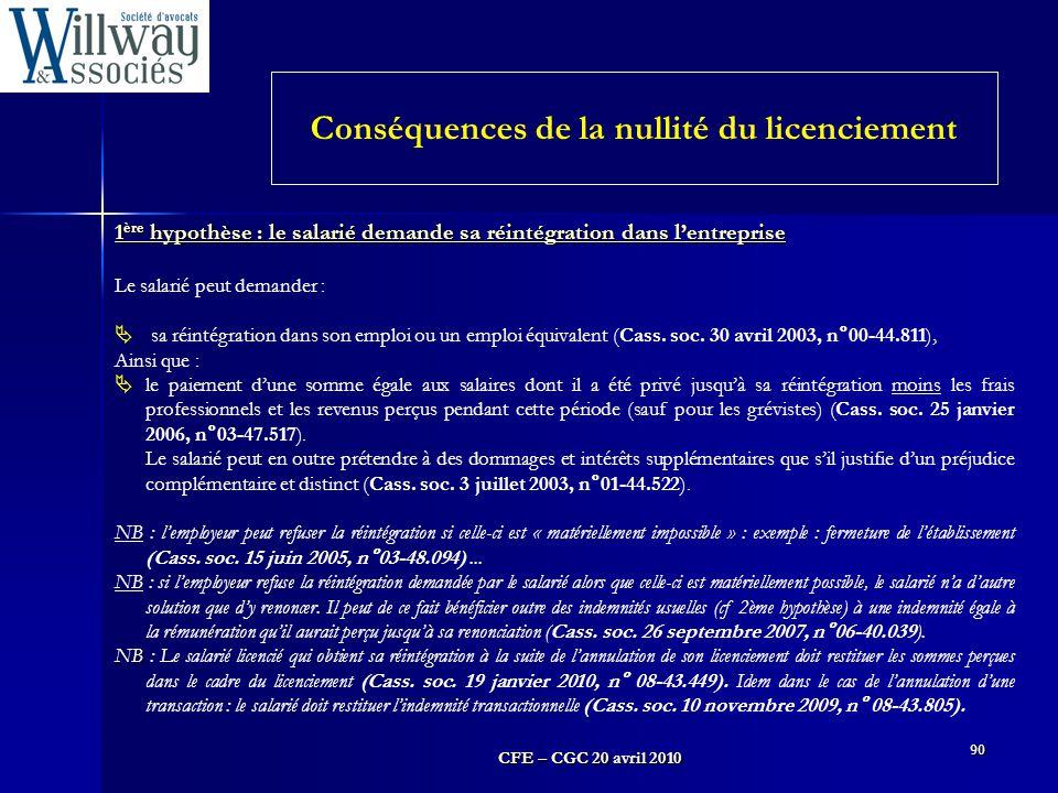 CFE – CGC 20 avril 2010 90 1 ère hypothèse : le salarié demande sa réintégration dans l'entreprise Le salarié peut demander :  sa réintégration dans