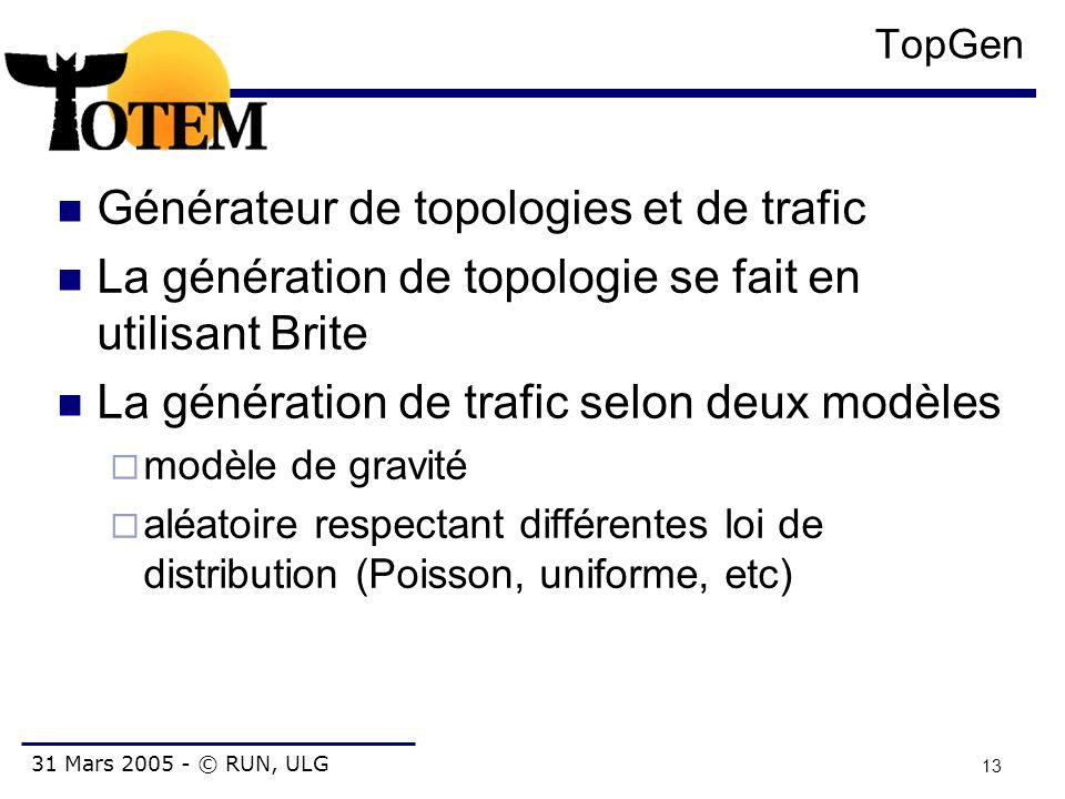 31 Mars 2005 - © RUN, ULG 13 TopGen Générateur de topologies et de trafic La génération de topologie se fait en utilisant Brite La génération de trafi