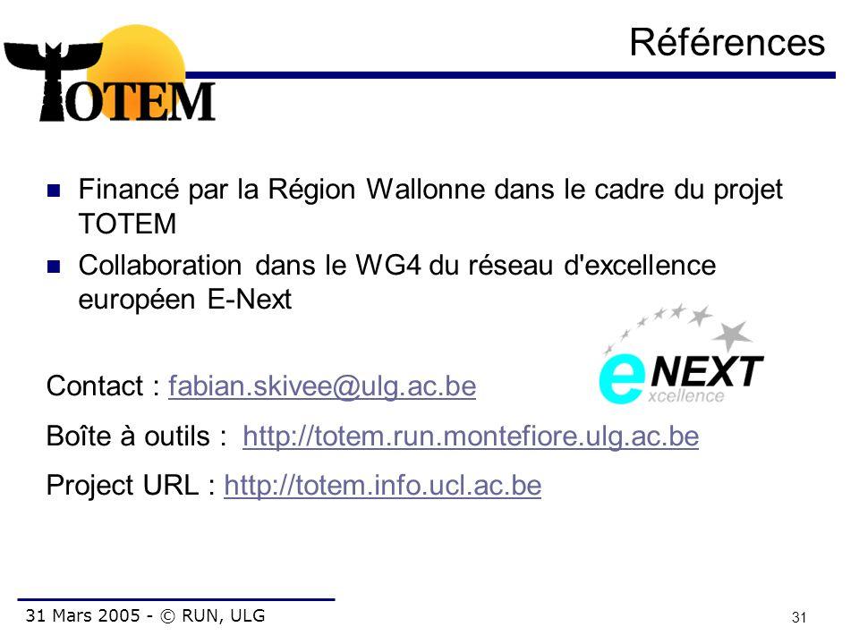 31 Mars 2005 - © RUN, ULG 31 Références Financé par la Région Wallonne dans le cadre du projet TOTEM Collaboration dans le WG4 du réseau d'excellence