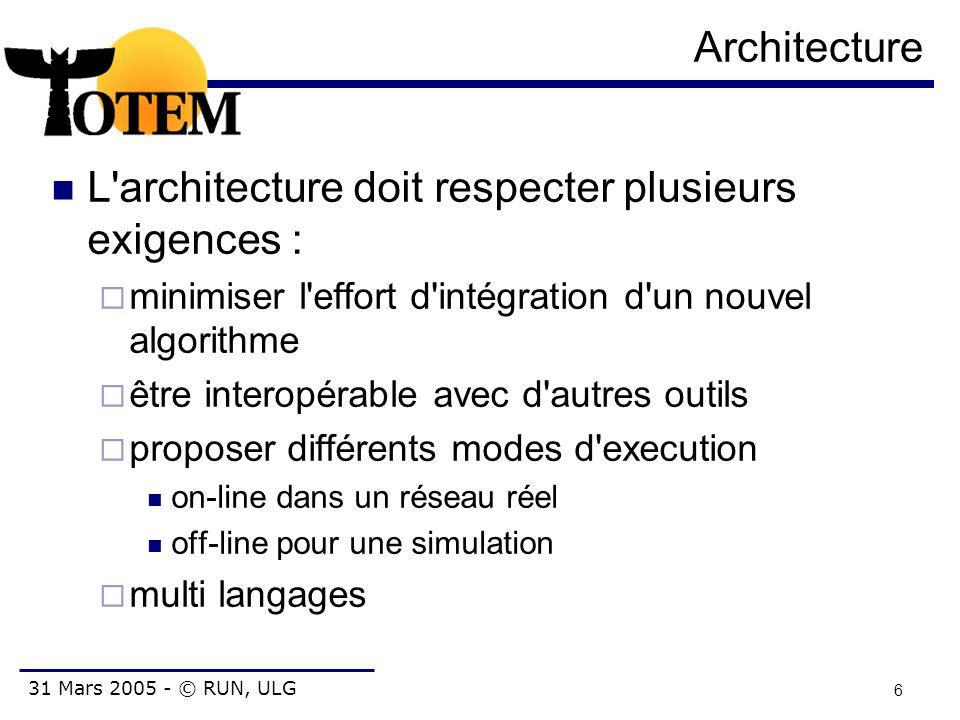 31 Mars 2005 - © RUN, ULG 6 Architecture L'architecture doit respecter plusieurs exigences :  minimiser l'effort d'intégration d'un nouvel algorithme