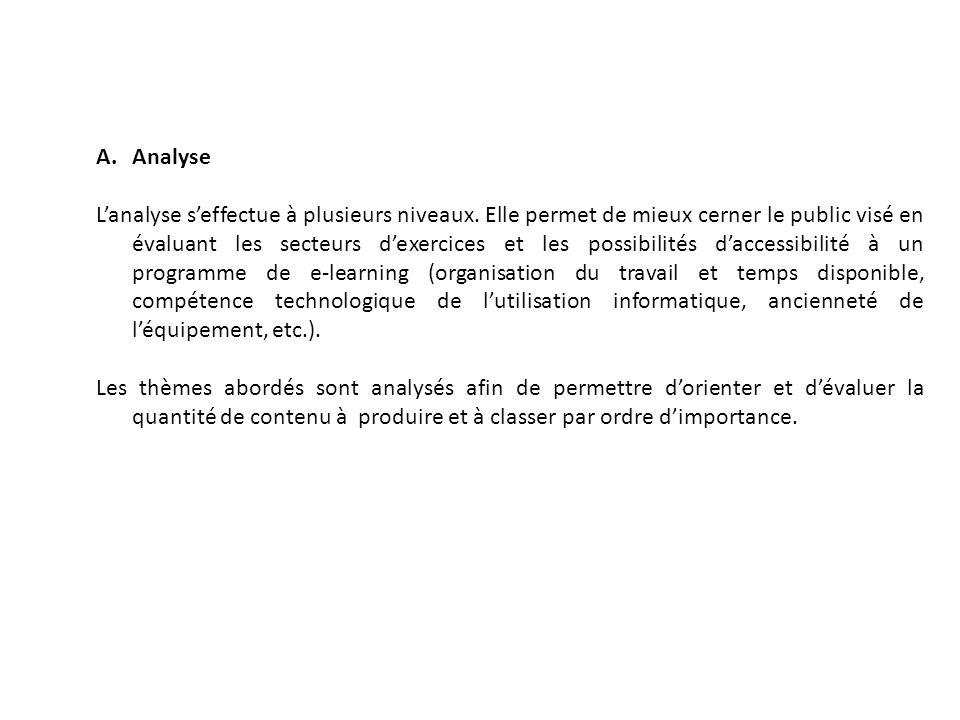 A.Analyse L'analyse s'effectue à plusieurs niveaux. Elle permet de mieux cerner le public visé en évaluant les secteurs d'exercices et les possibilité