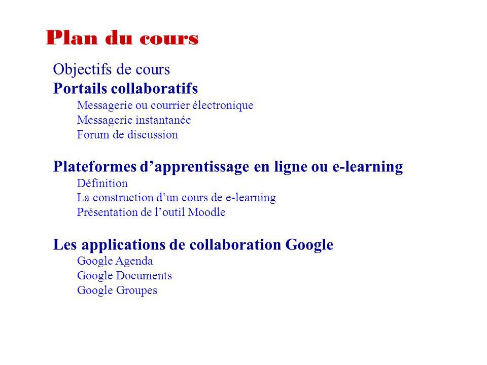 Plan du cours Objectifs de cours Portails collaboratifs Messagerie ou courrier électronique Messagerie instantanée Forum de discussion Plateformes d'a