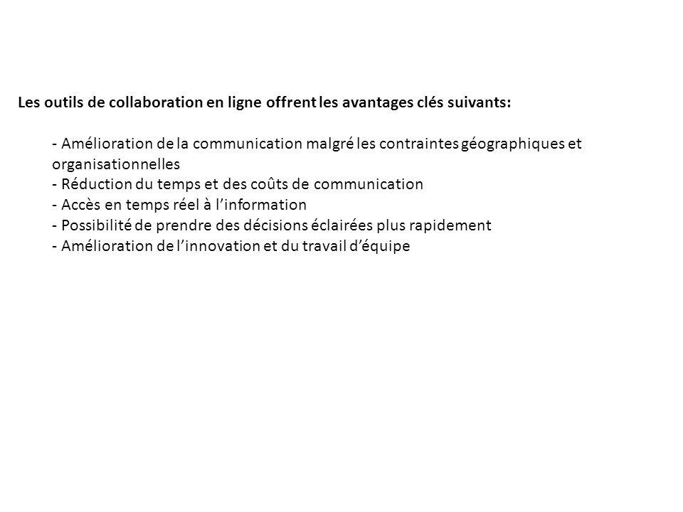 Les outils de collaboration en ligne offrent les avantages clés suivants: - Amélioration de la communication malgré les contraintes géographiques et o