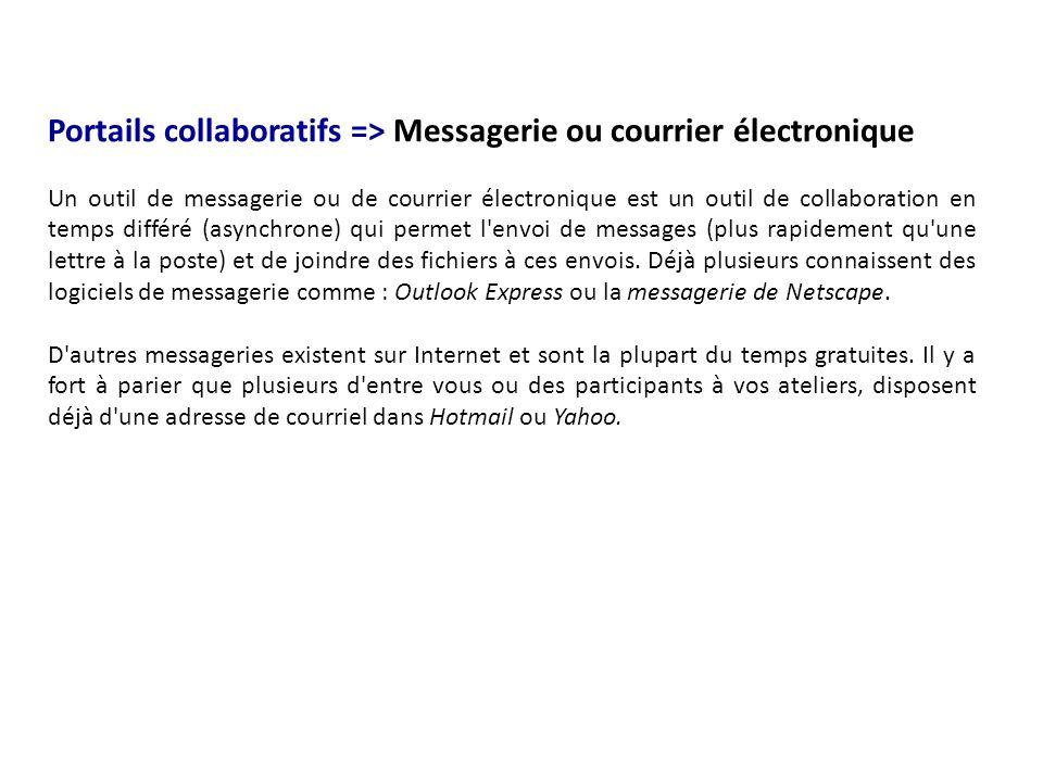 Portails collaboratifs => Messagerie ou courrier électronique Un outil de messagerie ou de courrier électronique est un outil de collaboration en temp