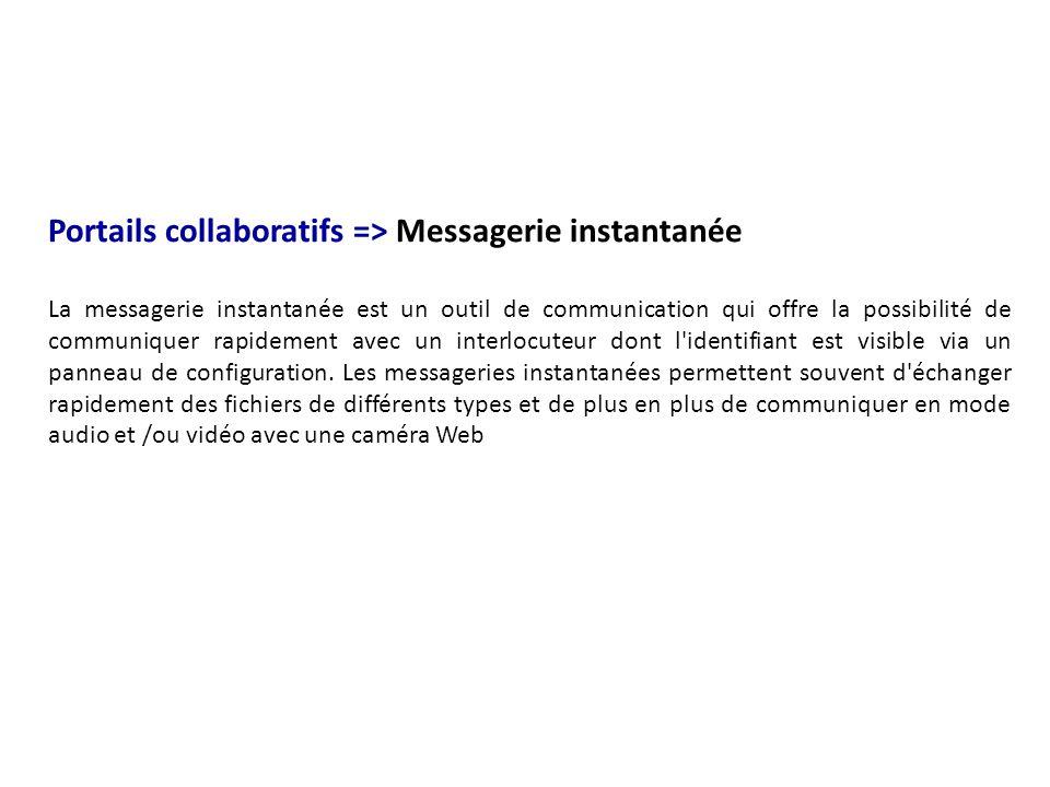 Portails collaboratifs => Messagerie instantanée La messagerie instantanée est un outil de communication qui offre la possibilité de communiquer rapid