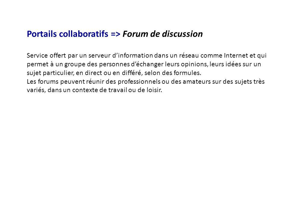 Portails collaboratifs => Forum de discussion Service offert par un serveur d'information dans un réseau comme Internet et qui permet à un groupe des