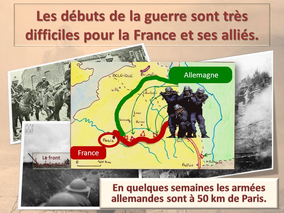 Les débuts de la guerre sont très difficiles pour la France et ses alliés. Allemagne France Le front fin août 1914