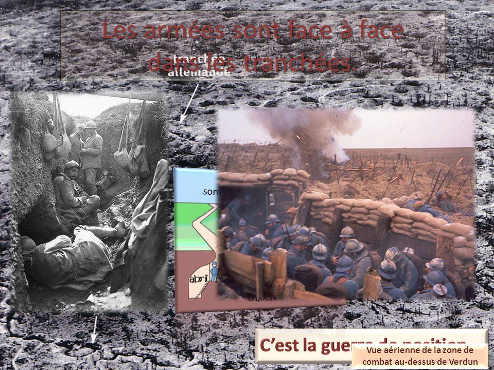 Les armées sont face à face dans les tranchées. sont creusées pour se protéger Vue aérienne de la zone de combat au-dessus de Verdun
