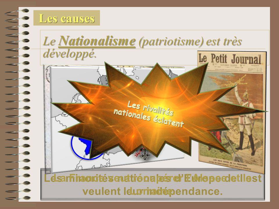 Les causes Le Nationalisme (patriotisme) est très développé. Les minorités nationales d'Europe de l'est veulent leur indépendance. La France veut récu