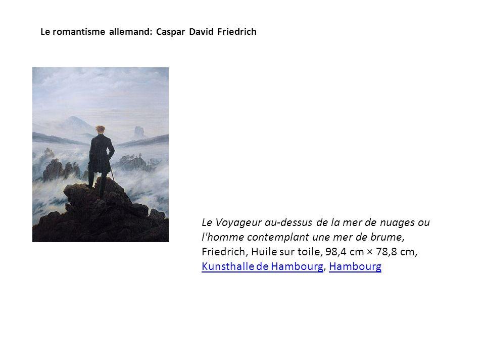 Le romantisme allemand: Caspar David Friedrich Le Voyageur au-dessus de la mer de nuages ou l homme contemplant une mer de brume, Friedrich, Huile sur toile, 98,4 cm × 78,8 cm, Kunsthalle de Hambourg, Hambourg Kunsthalle de HambourgHambourg
