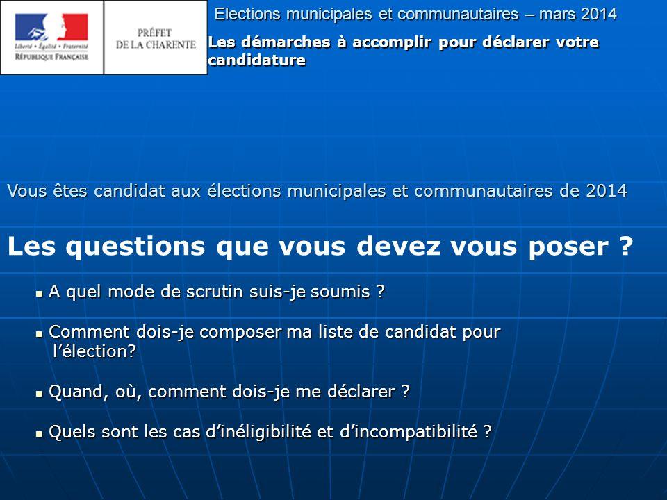Elections municipales et communautaires – mars 2014 Les démarches à accomplir pour déclarer votre candidature Vous êtes candidat aux élections municipales et communautaires de 2014 A quel mode de scrutin suis-je soumis .