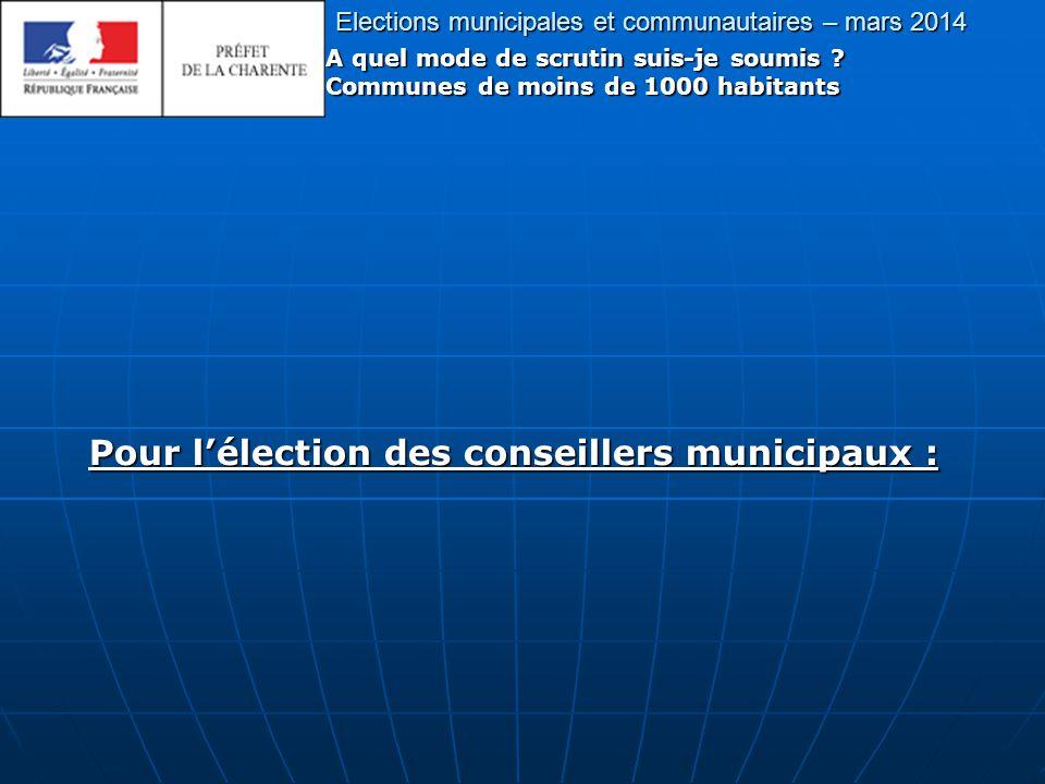 Elections municipales et communautaires – mars 2014 A quel mode de scrutin suis-je soumis .