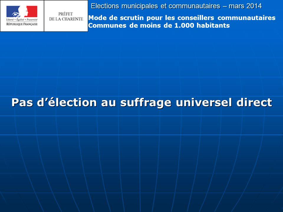 Pas d'élection au suffrage universel direct Elections municipales et communautaires – mars 2014 Mode de scrutin pour les conseillers communautaires Communes de moins de 1.000 habitants
