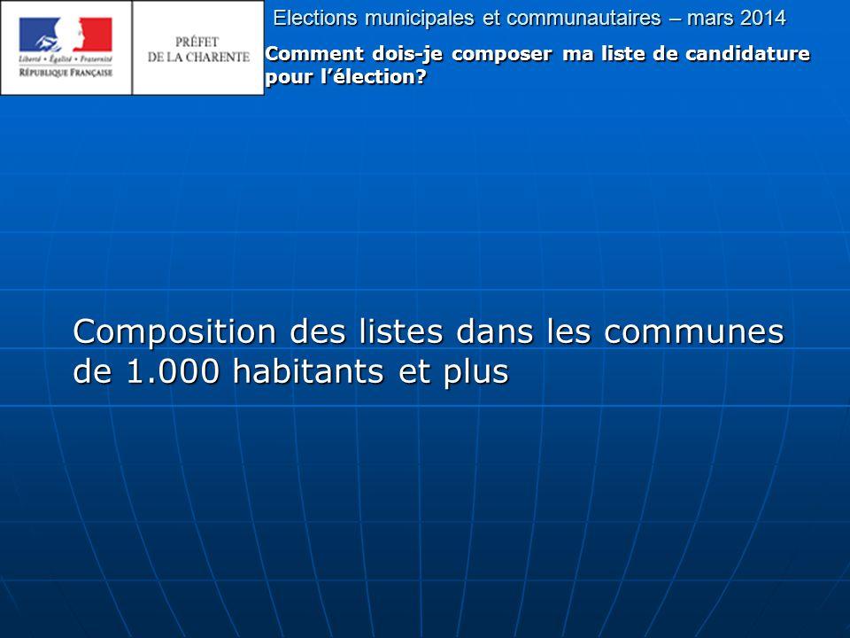 Elections municipales et communautaires – mars 2014 Comment dois-je composer ma liste de candidature pour l'élection.