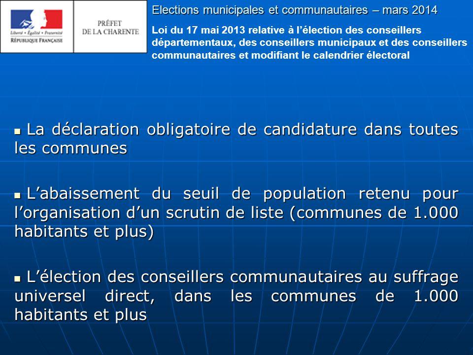 Elections municipales et communautaires – mars 2014 Les démarches à accomplir pour déclarer votre candidature A quel mode de scrutin suis-je soumis ?