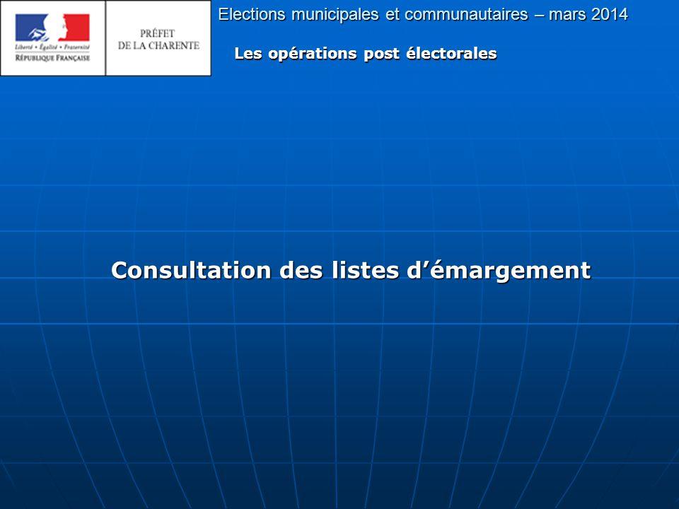 Elections municipales et communautaires – mars 2014 Les opérations post électorales Consultation des listes d'émargement Consultation des listes d'émargement