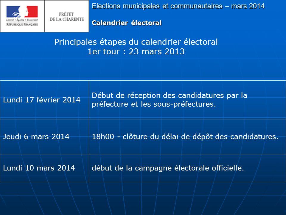 Principales étapes du calendrier électoral 1er tour : 23 mars 2013 Elections municipales et communautaires – mars 2014 Calendrier électoral Samedi 22 mars 2014 24h00 - clôture de la campagne électorale du 1er tour.