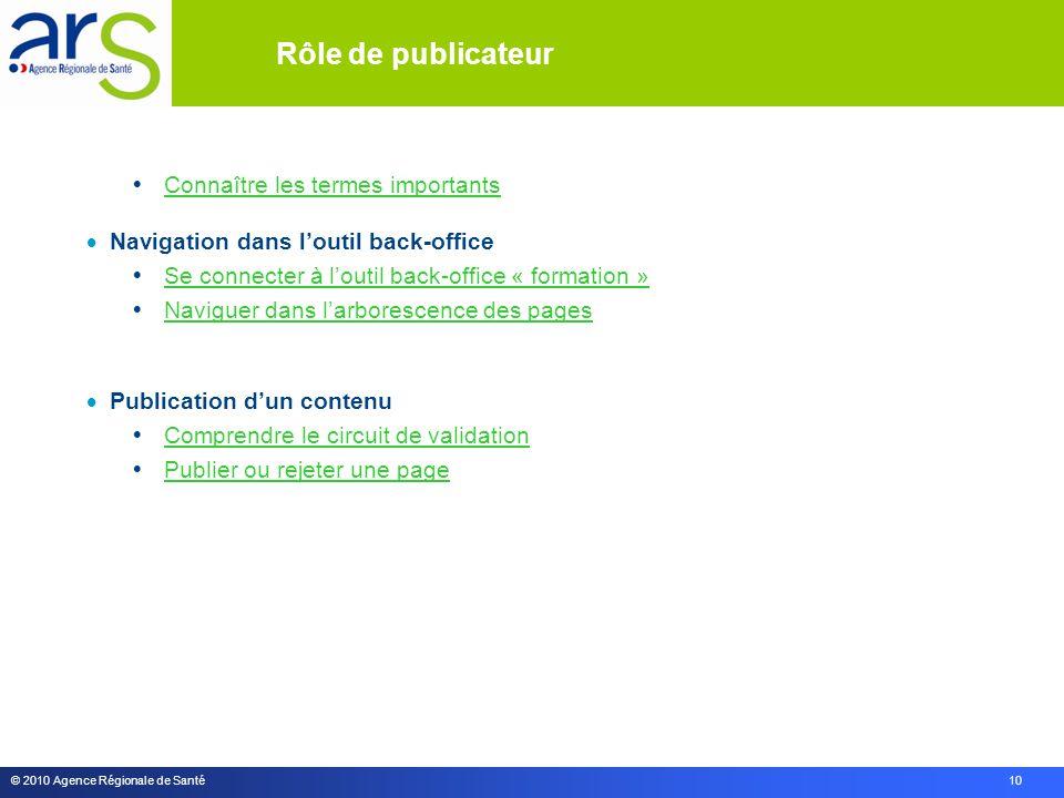 © 2010 Agence Régionale de Santé 10 Rôle de publicateur  Connaître les termes importants Connaître les termes importants  Navigation dans l'outil ba