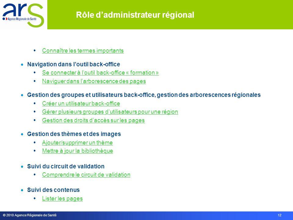 © 2010 Agence Régionale de Santé 12 Rôle d'administrateur régional  Connaître les termes importants Connaître les termes importants  Navigation dans
