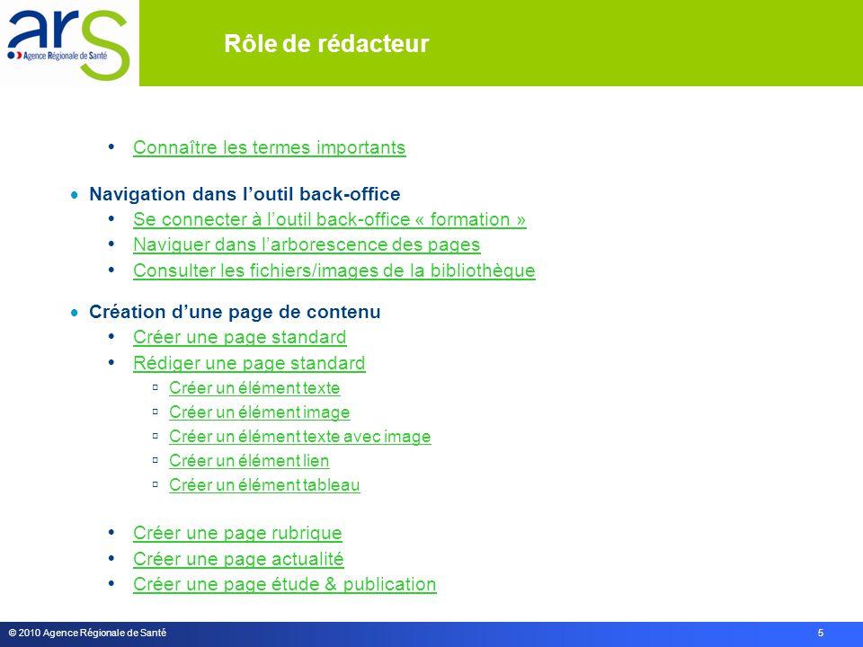 © 2010 Agence Régionale de Santé 5 Rôle de rédacteur  Connaître les termes importants Connaître les termes importants  Navigation dans l'outil back-