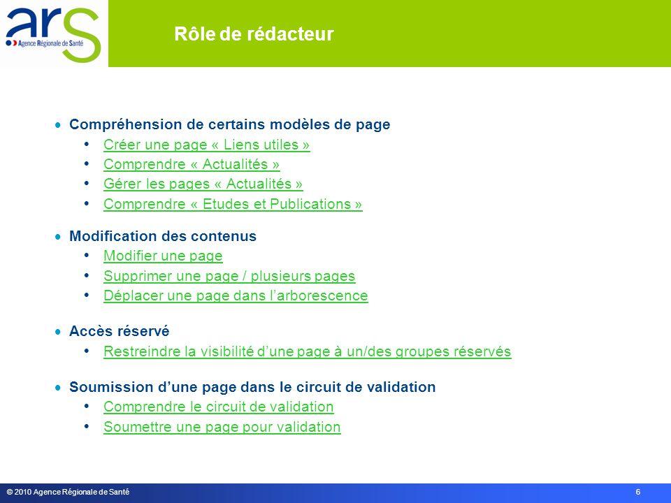 © 2010 Agence Régionale de Santé 6  Compréhension de certains modèles de page  Créer une page « Liens utiles » Créer une page « Liens utiles »  Com