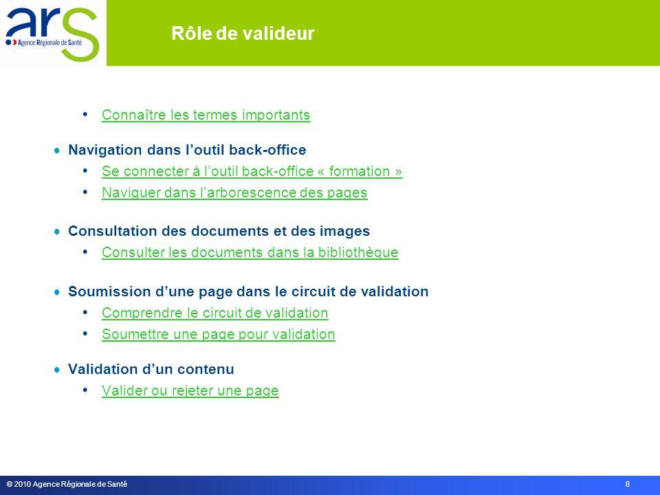 © 2010 Agence Régionale de Santé 8  Connaître les termes importants Connaître les termes importants  Navigation dans l'outil back-office  Se connec