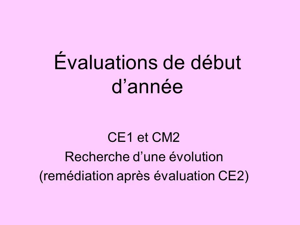 Évaluations de début d'année CE1 et CM2 Recherche d'une évolution (remédiation après évaluation CE2)