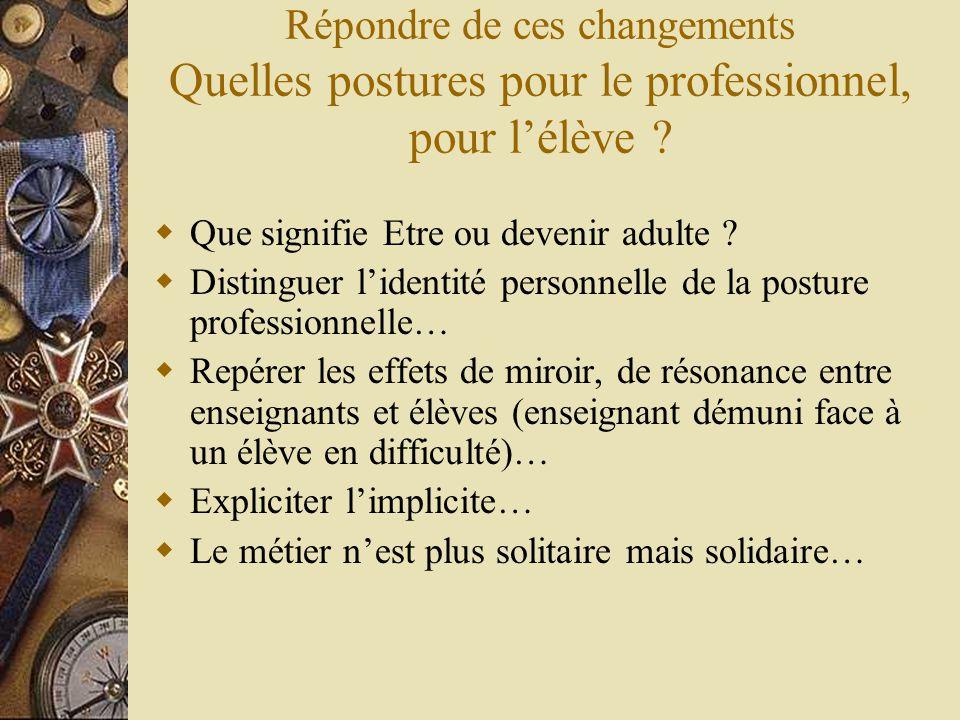 Répondre de ces changements Quelles postures pour le professionnel, pour l'élève ?  Que signifie Etre ou devenir adulte ?  Distinguer l'identité per