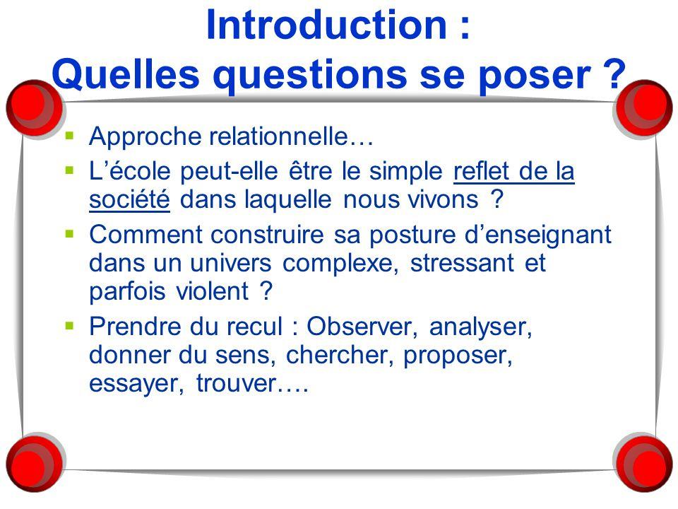Introduction : Quelles questions se poser ?  Approche relationnelle…  L'école peut-elle être le simple reflet de la société dans laquelle nous vivon