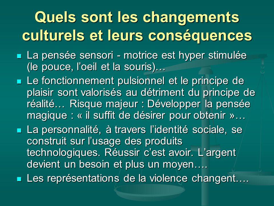 Quels sont les changements culturels et leurs conséquences La pensée sensori - motrice est hyper stimulée (le pouce, l'oeil et la souris)… La pensée s