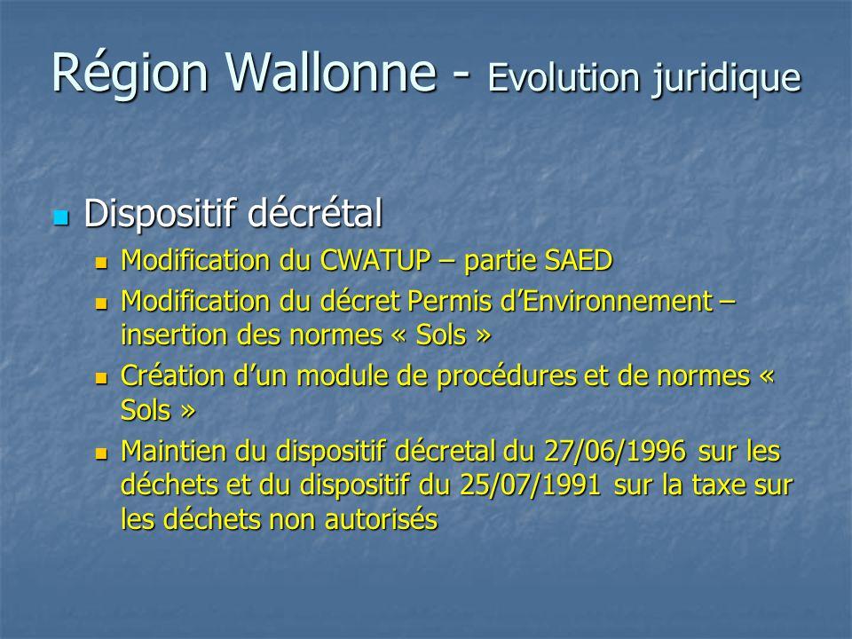 Région Wallonne - CWATUP SAED / SAER SAED / SAER Site à réhabiliter : bien qui a été le siège d'une activité économique et dont le maintien dans l'état actuel est contraire au bon aménagement du site et pour lequel toute réutilisation nécessite une réhabilitation préalable Site à réhabiliter : bien qui a été le siège d'une activité économique et dont le maintien dans l'état actuel est contraire au bon aménagement du site et pour lequel toute réutilisation nécessite une réhabilitation préalable Réhabilitation : ensemble des travaux et actes d'assainissement d'un terrain ou de rénovation supprimant les nuisances découlant de son maintien dans l'état et nécessaires à sa réutilisation Réhabilitation : ensemble des travaux et actes d'assainissement d'un terrain ou de rénovation supprimant les nuisances découlant de son maintien dans l'état et nécessaires à sa réutilisation Assainissement : mise à blanc et éventuellement décontamination (sol) Assainissement : mise à blanc et éventuellement décontamination (sol)