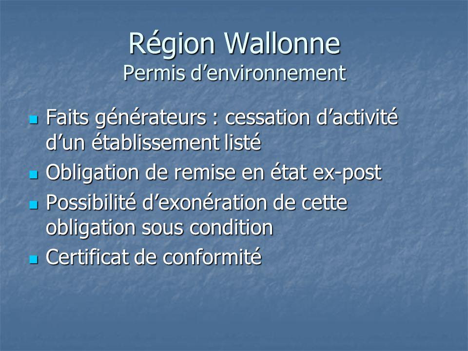 Région Wallonne Permis d'environnement Faits générateurs : cessation d'activité d'un établissement listé Faits générateurs : cessation d'activité d'un