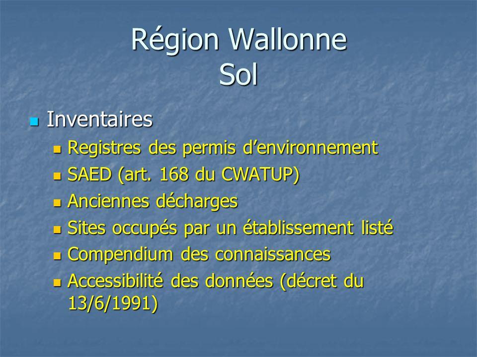 Région Wallonne Sol Inventaires Inventaires Registres des permis d'environnement Registres des permis d'environnement SAED (art. 168 du CWATUP) SAED (