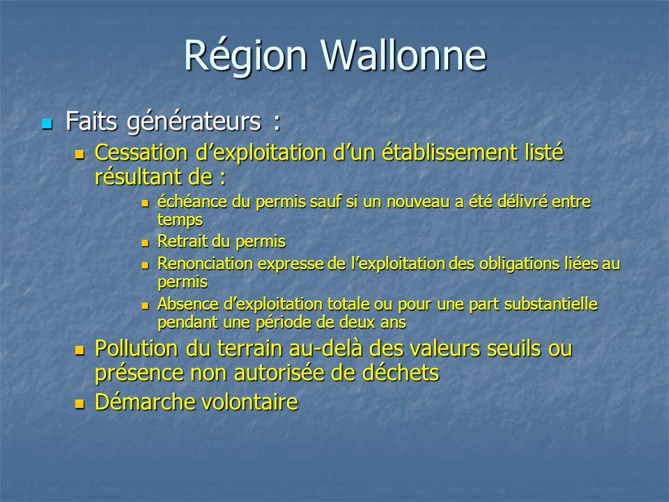 Région Wallonne Faits générateurs : Faits générateurs : Cessation d'exploitation d'un établissement listé résultant de : Cessation d'exploitation d'un