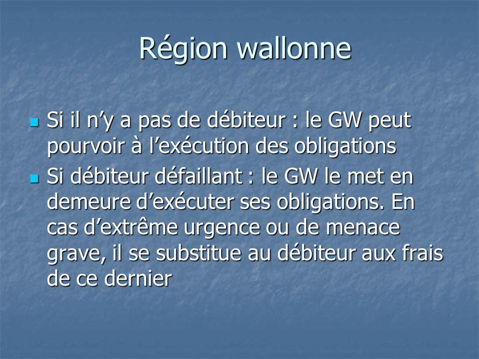 Région wallonne Si il n'y a pas de débiteur : le GW peut pourvoir à l'exécution des obligations Si il n'y a pas de débiteur : le GW peut pourvoir à l'