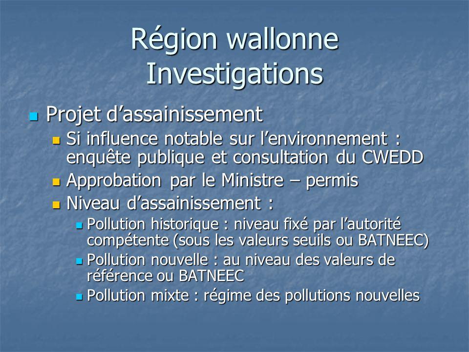 Région wallonne Investigations Projet d'assainissement Projet d'assainissement Si influence notable sur l'environnement : enquête publique et consulta