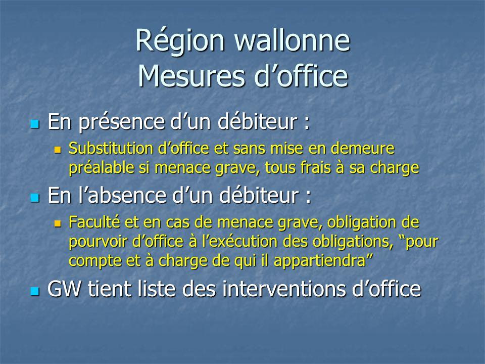 Région wallonne Mesures d'office En présence d'un débiteur : En présence d'un débiteur : Substitution d'office et sans mise en demeure préalable si me