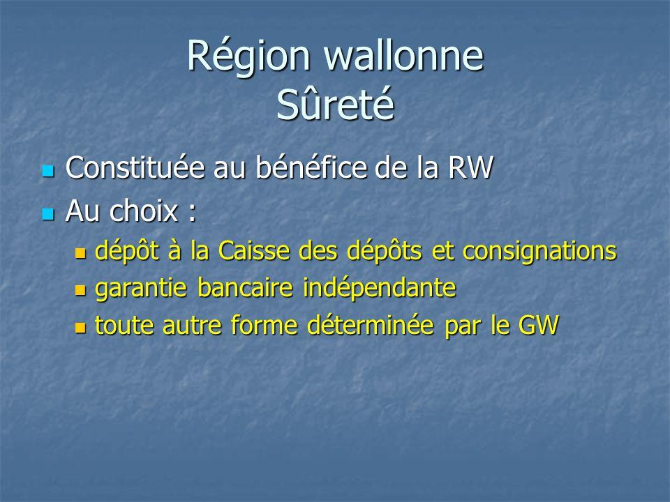 Région wallonne Sûreté Constituée au bénéfice de la RW Constituée au bénéfice de la RW Au choix : Au choix : dépôt à la Caisse des dépôts et consignat