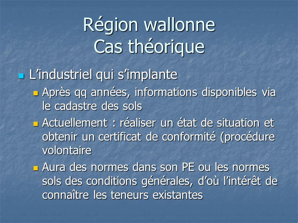 Région wallonne Cas théorique L'industriel qui s'implante L'industriel qui s'implante Après qq années, informations disponibles via le cadastre des so