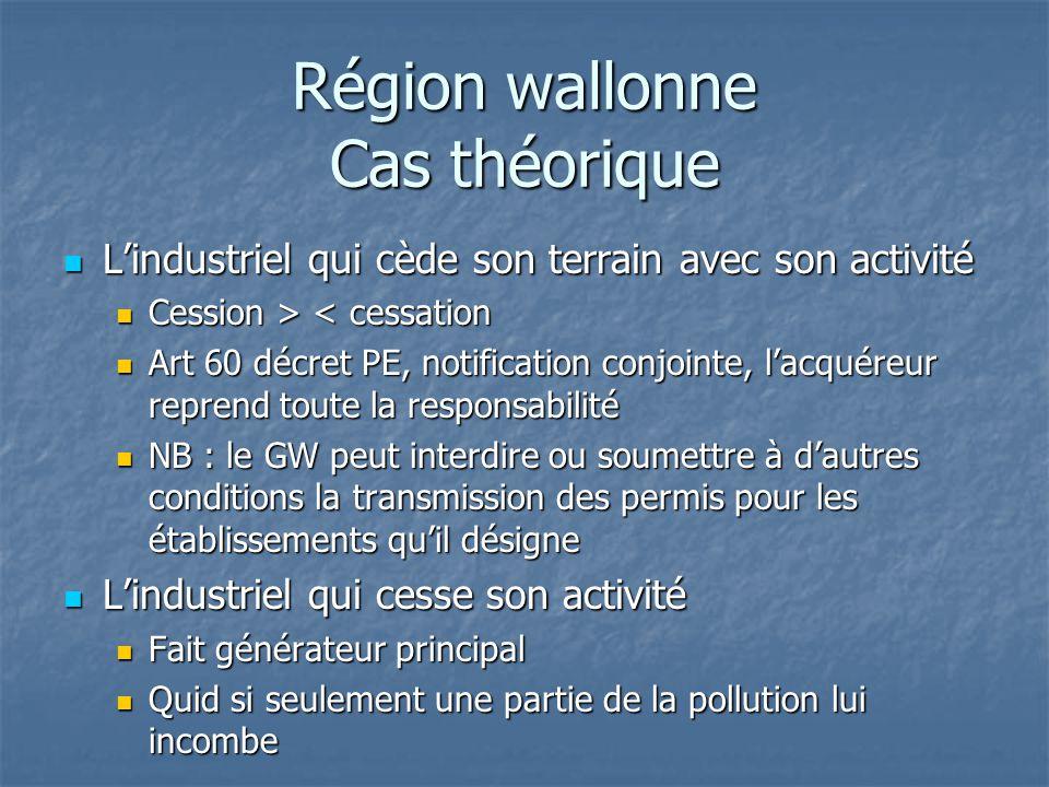 Région wallonne Cas théorique L'industriel qui cède son terrain avec son activité L'industriel qui cède son terrain avec son activité Cession > < cess