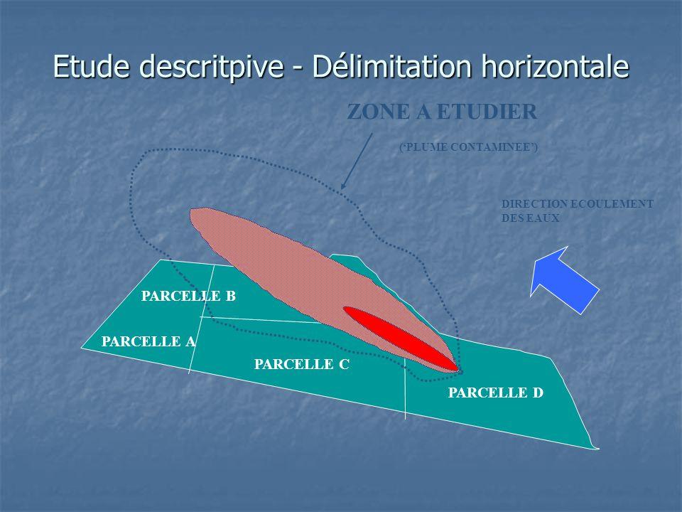 Etude descritpive - Délimitation horizontale PARCELLE A PARCELLE B PARCELLE C PARCELLE D ZONE A ETUDIER DIRECTION ECOULEMENT DES EAUX ('PLUME CONTAMIN