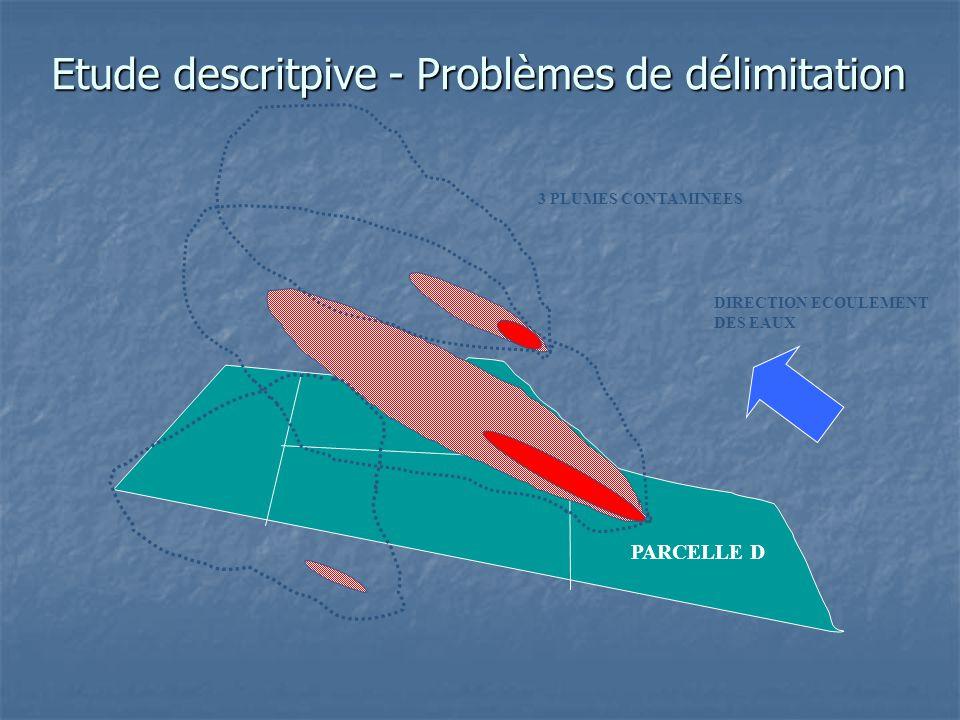 Etude descritpive - Problèmes de délimitation PARCELLE D 3 PLUMES CONTAMINEES DIRECTION ECOULEMENT DES EAUX