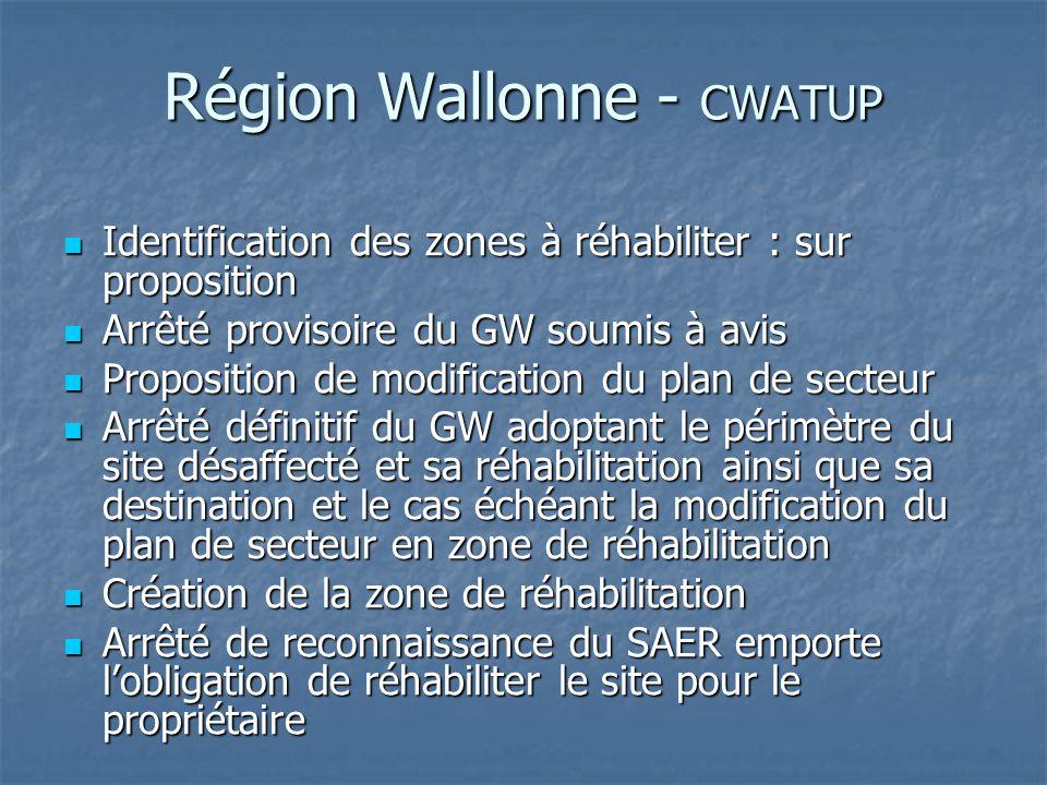 Région Wallonne - CWATUP Identification des zones à réhabiliter : sur proposition Identification des zones à réhabiliter : sur proposition Arrêté prov