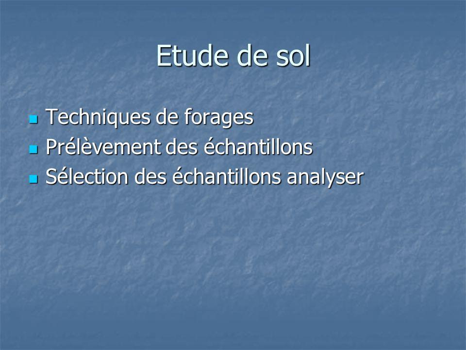 Etude de sol Techniques de forages Techniques de forages Prélèvement des échantillons Prélèvement des échantillons Sélection des échantillons analyser