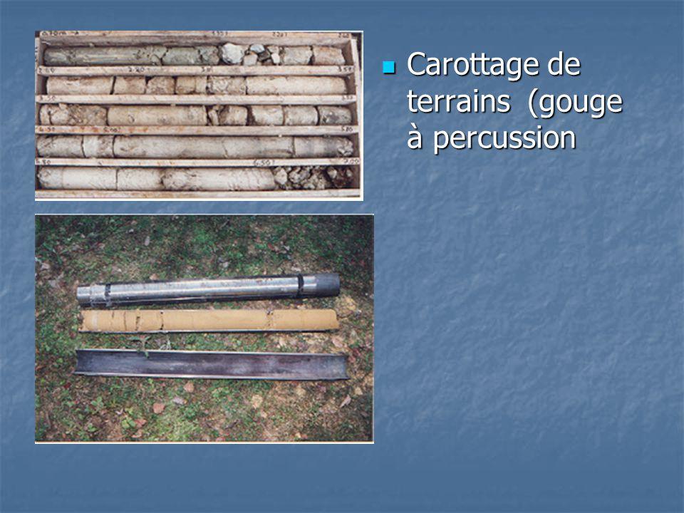 Carottage de terrains (gouge à percussion Carottage de terrains (gouge à percussion