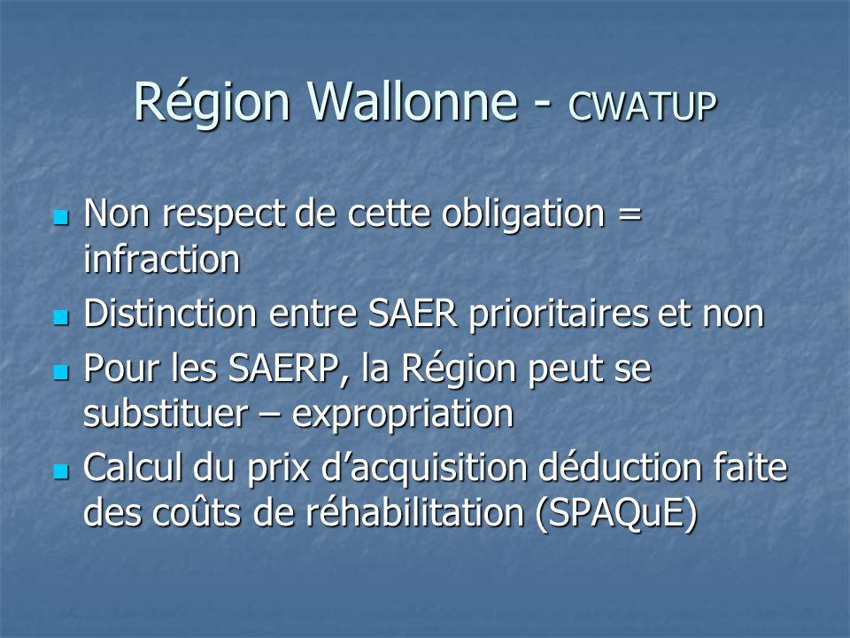 Région Wallonne - CWATUP Non respect de cette obligation = infraction Non respect de cette obligation = infraction Distinction entre SAER prioritaires